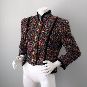 Doncaster Rainbow Fantasy Tweed Cropped Blazer L